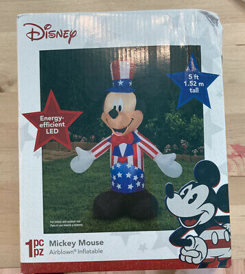Mickey Mouse Disney Patriotic America 5' ft Inflatable Lawn Decoration Gemmy NIB