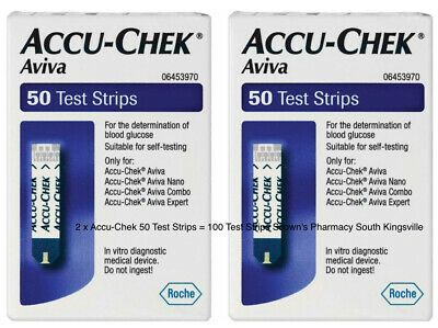 2 x ACCU-CHEK Aviva Blood Glucose Test Strips 50 for all Roche Aviva Meters =100