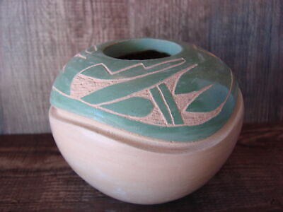 Native American Jemez Pueblo Pottery Clay Etched Pot by Emma Yepa