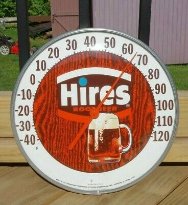 "VINTAGE HIRES ROOT BEER GLASS FRONT THERMOMETER 4156 12"" x 2"" EUC"