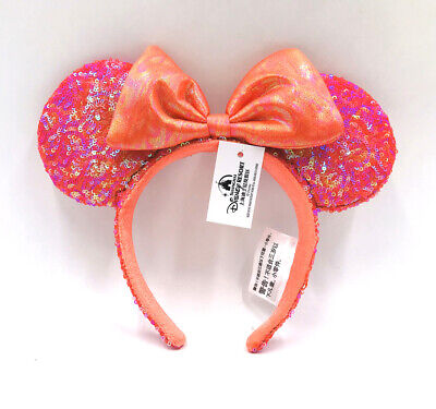 Disney Parks Exclusive Cute Edition Minnie Ears Orange Red Bow Sequins Headband