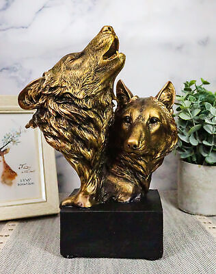 """Rustic Totem Spirit Wildlife Gray Wolf With Pup Bust Statue On Museum Base 9""""H"""