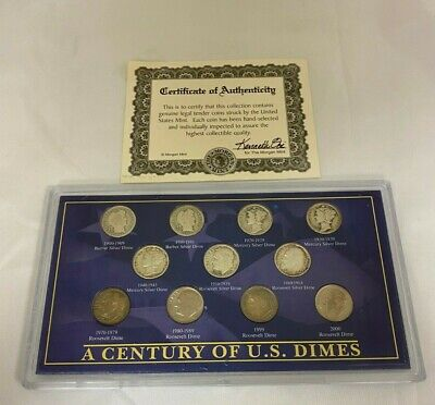 """Morgan Mint """"A Century of Dimes"""", 11pc Dime Collection"""
