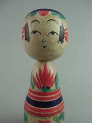 Japanese Wooden Kimono Girl Kokeshi Doll Hand-painted Signed Vtg Ningyo TK38