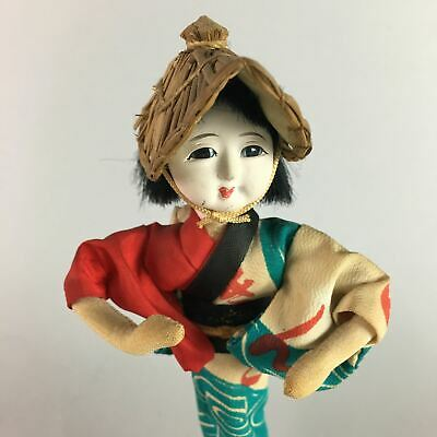 Japanese Kokeshi Doll Ornament Vtg Carving Figurine Bon Dancing Girl KF99