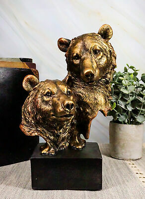 """Rustic Western Wild Forest Black Bear With Cub Bust Statue On Museum Base 9.25""""H"""