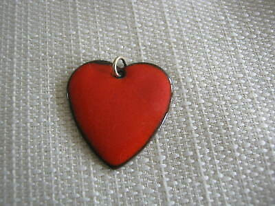 Large Vintage Red Enameled Heart Charm, Pendant
