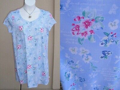 Karen Neuberger NEW SOFT floral knit nightgown size L pansy forget me not sleep