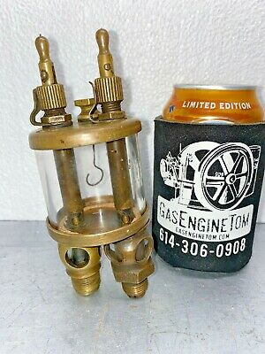 American Lubricator Double Feed Oiler Hit Miss Gas Engine Vintage Antique Brass