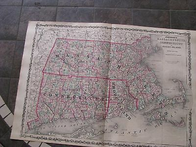 1863 ORIGINAL Huge Civil War Map of Massachusetts, Connecticut, Rhode Island