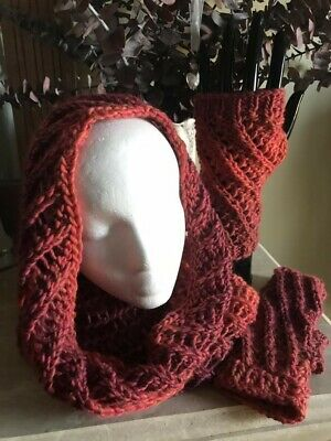 Hand Knit Cowl with Fingerless Gloves Set Orange Rusty Red Pink Merino Wool