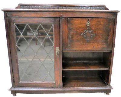 Antique English Oak Drop Front Secretary With Leaded Glass Bookcase Cabinet