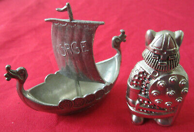Pewter -Swedish Style (silvery) Viking + (grey) Norge Longboat w/Sail, One Owner