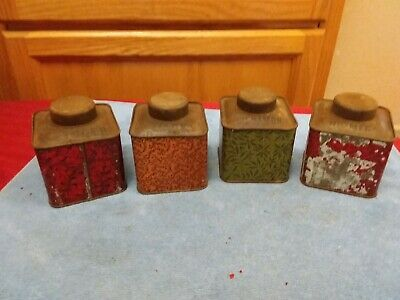 Lot Of 4 Antique Victorian Square Spice Tins Canisters Mace Cinnamon Ginger Etc.