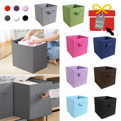 4 x Canvas Storage Boxes Foldable Basket Cube Magazine Bookcase Shelving Shelf