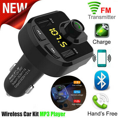 Bluetooth Car Kit FM Transmitter Wireless Radio Adapter 2 USB Charger Car