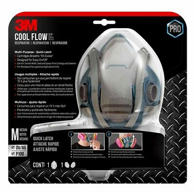 3M 65023QLHA1C Pro Multi-Purpose Respirator with Quick Latch + Filter - M - New