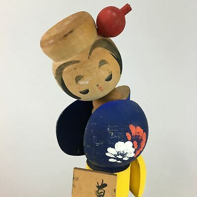 Japanese Kokeshi Doll Figurine Kimono Girl Vtg Wood Carving Hot Spring OK997