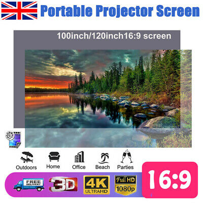 "120"" Portable Projector Screen 16:9 Fabric White Matte 3D HD Home Cinema Theater"