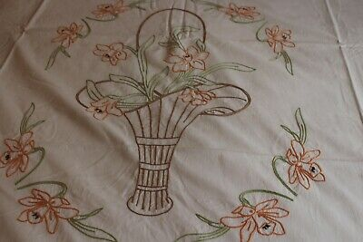 Vintage Summer Cotton Bedspread and Pillow Cover Fab Embroidery 72x90 & 27x76