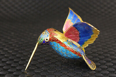 Rare Fine Chinese old silver cloisonne royal hummingbird statue unique