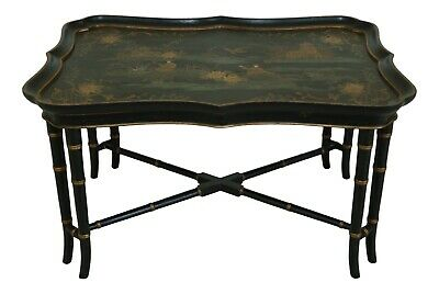 29787EC: Stunning Chinoiserie Paint Decorated Tray Top Coffee Cocktail Table