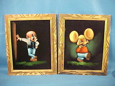 Pair Of Vintage Paintings On Velvet Of Elmer Fudd And Big Ear Mouse From Mexico