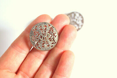 Set of 3 Vintage Silver on Brass Filigree Buttons Antique 2.6cm