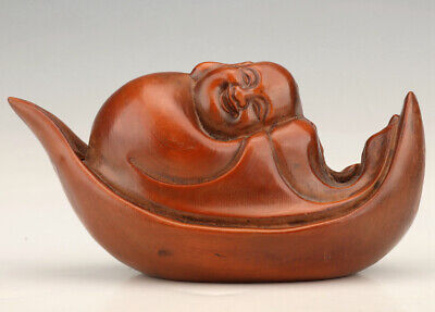 Boxwood Hand Carved Old Collection Maitreya Statue