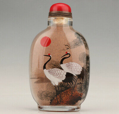Chinese Art Hand-made Interior Painting Crane Old Collection Glass Snuff Bottle