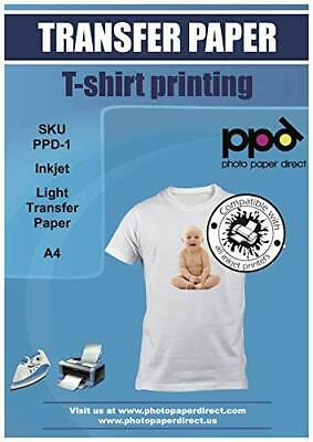 PPD Inkjet T Shirt Transfer Paper A4 for Light and White Fabric x 40