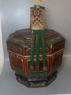 Antique Chinese Painted Wooden Bucket Basket Green Mother of Pearl Gold