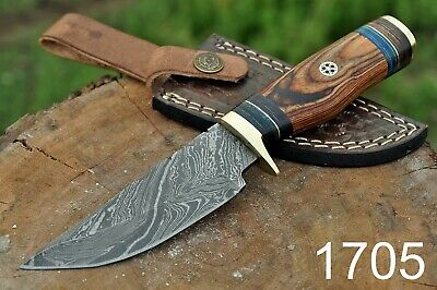 Hand Forged Damascus Steel HUNTING Knife W/Wood Handle & Brass Guard