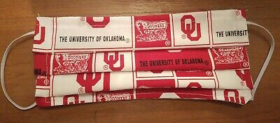 Handmade Adult Face Mask Oklahoma Sooners  Washable Reusable Double Layer