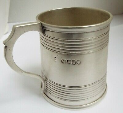 Lovely English Antique Early Victorian 1857 Solid Silver Christening Tankard Mug