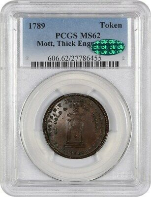 1789 Mott Token PCGS/CAC MS62 (Thick Engrailed Edge) Colonial Coinage