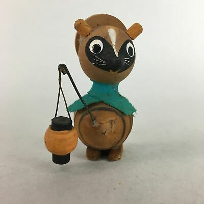 Japanese Kokeshi Doll Vtg Wood Carving Figurine Raccoon Dog Lantern Tanuki KF180