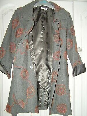 M&S Girls Boutique age 9-10 grey Autumn/Winter jacket coat wool mix satin lined