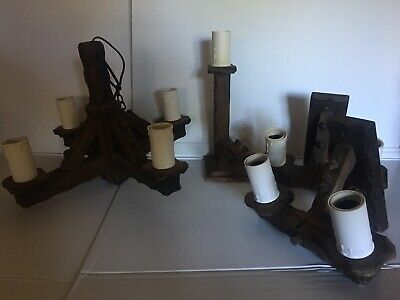 Wooden light fittings Old English Pub Wall Ceiling Lamp Black Forest medieval