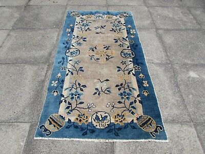 Antique Worn Hand Made Art Deco Chinese Brown Blue Wool Long Rug 172x91cm