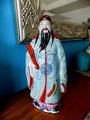 Vintage Chinese Noble Man Pottery Ceramic Bust Statue Figurine Sculpture 8 ins