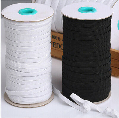 1-20 Metres GOOD STRONG QUALITY FLAT WOVEN ELASTIC MASKS WHITE DIY 6MM