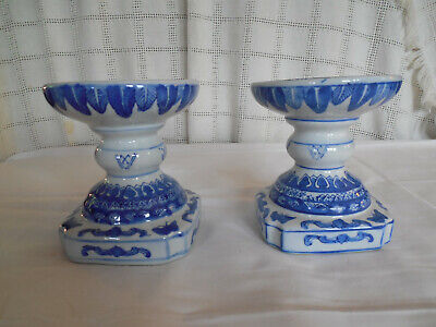 Nice blue porcelain candlestick, candle holders set of two holders