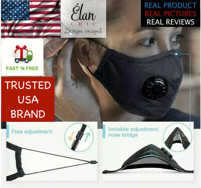 FACE MASK REUSABLE BRAND PREMIUM WITH RESPIRATOR AND PM2.5x2 FILTERS( BLACK)SALE