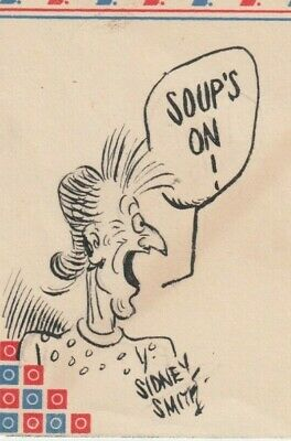 """SIDNEY SMITH. Cartoonist. Created """"The Gumps."""" Signed drawing of Tilda, the maid"""