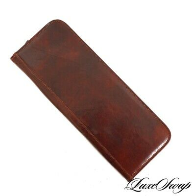 LNWOT Flota Made in Italy Tumbled Russet Chestnut Leather Zip Tie Travel Case NR