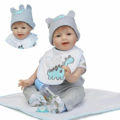 "22"" Newborn Reborn Lifelike Baby Silicone Vinyl Baby Boy Doll Blue Eyes Kid Gift"