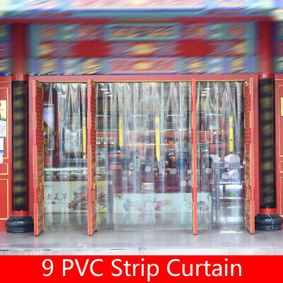 9x PVC Strip Window Curtains Plastic Strip Door Clear PVC Curtains Thickness 2mm
