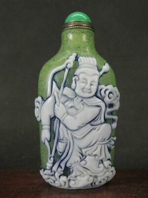 Chinese General Woman Carved Peking Overlay Glass Snuff Bottle