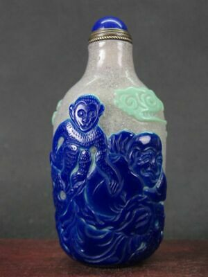 Chinese Two Lohan Monkey Carved Peking Overlay Glass Snuff Bottle